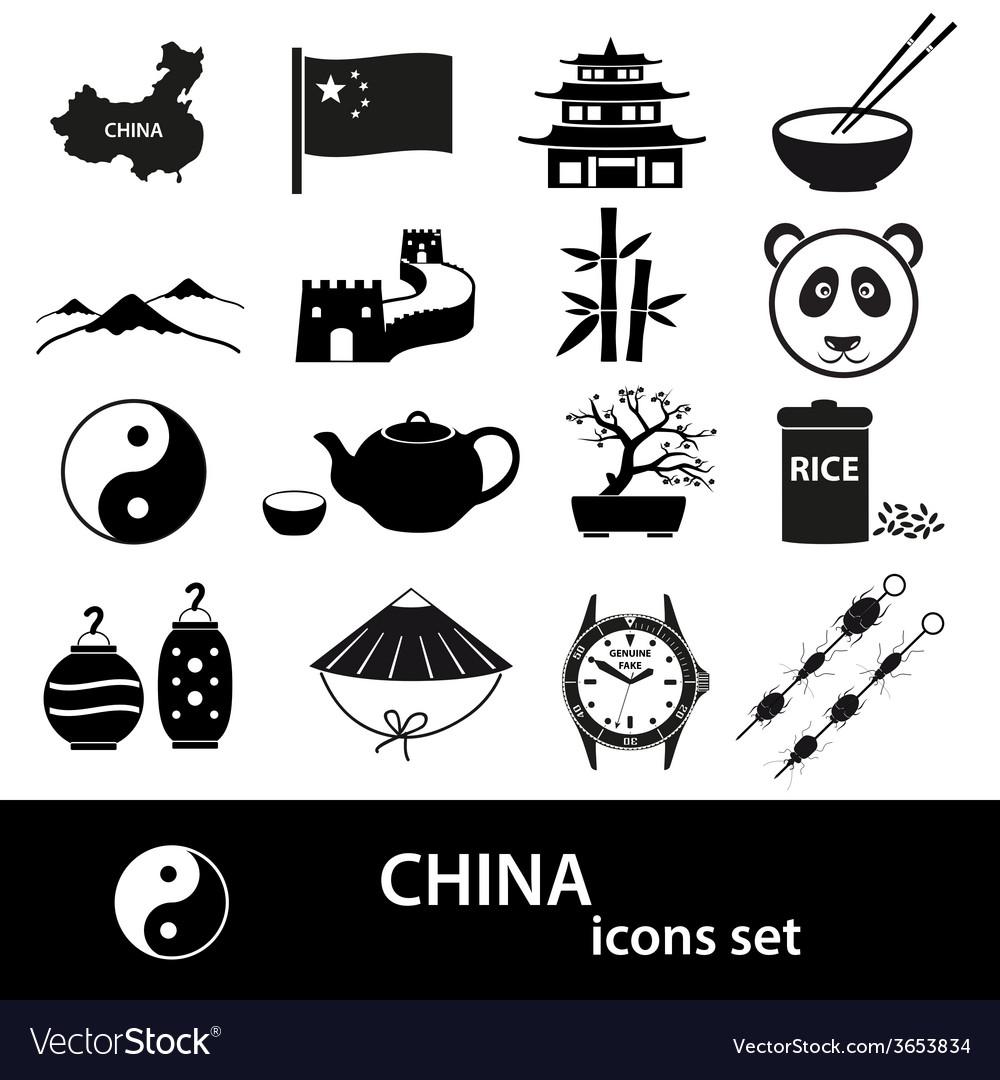 China theme black icons set eps10 vector | Price: 1 Credit (USD $1)