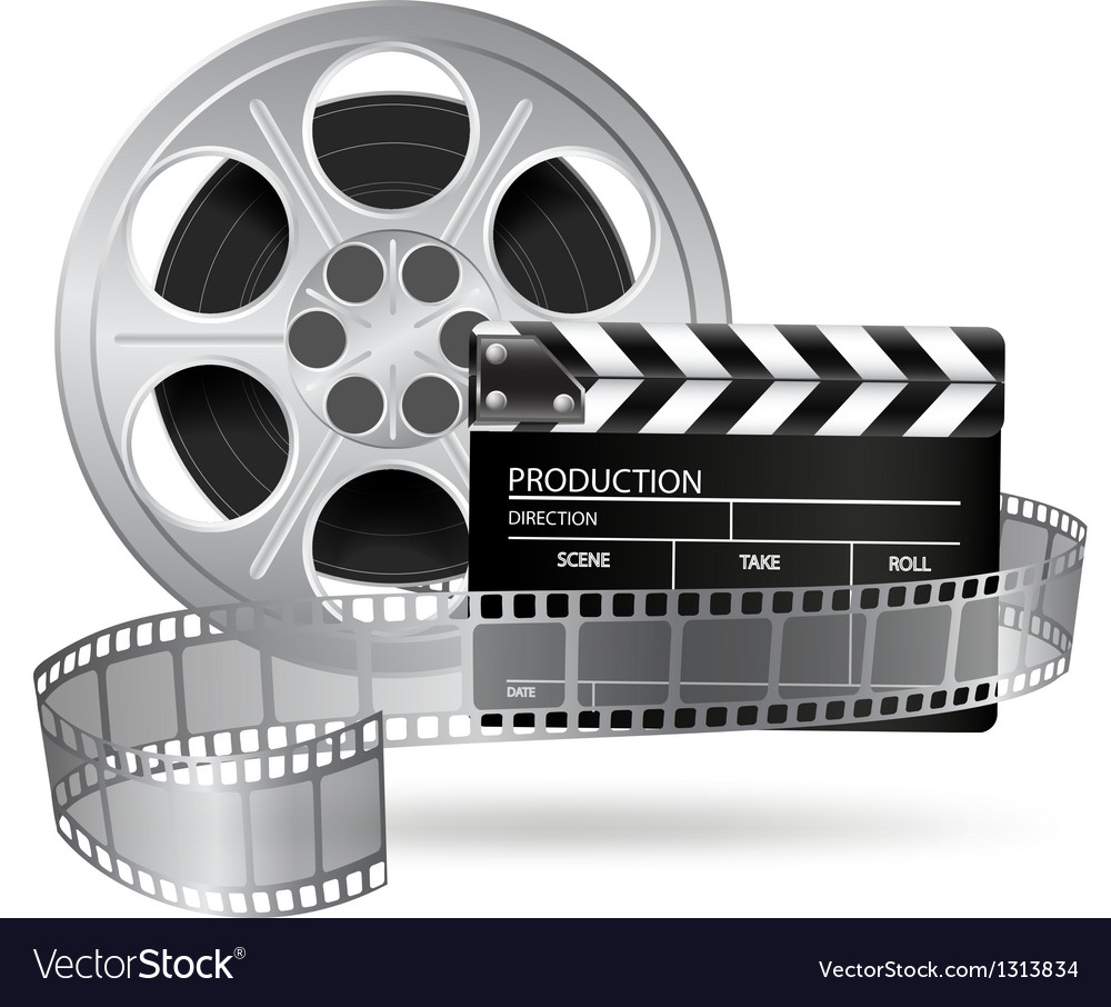 Cinema clap and film reel vector | Price: 3 Credit (USD $3)