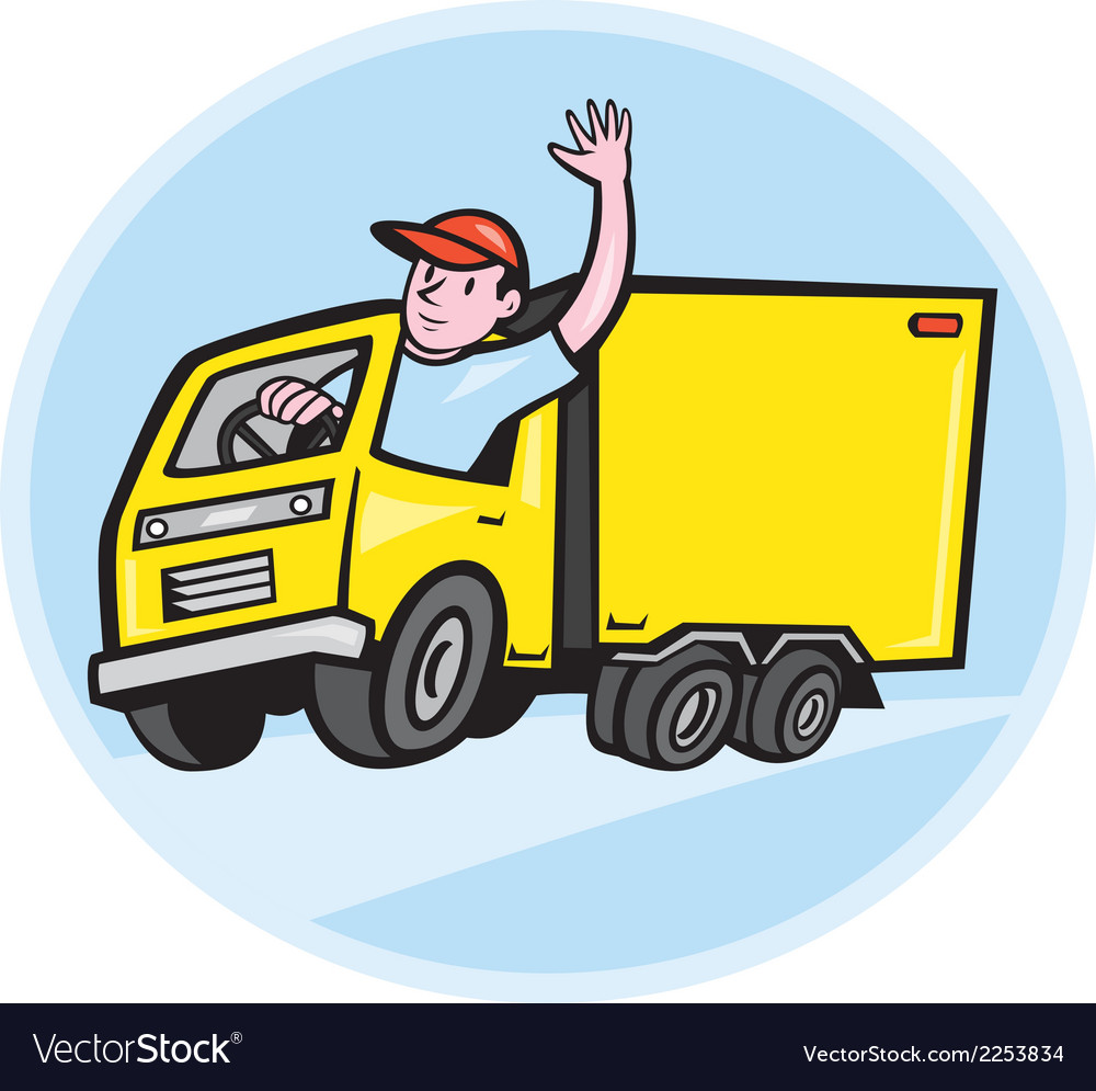 Delivery truck driver waving cartoon vector | Price: 1 Credit (USD $1)