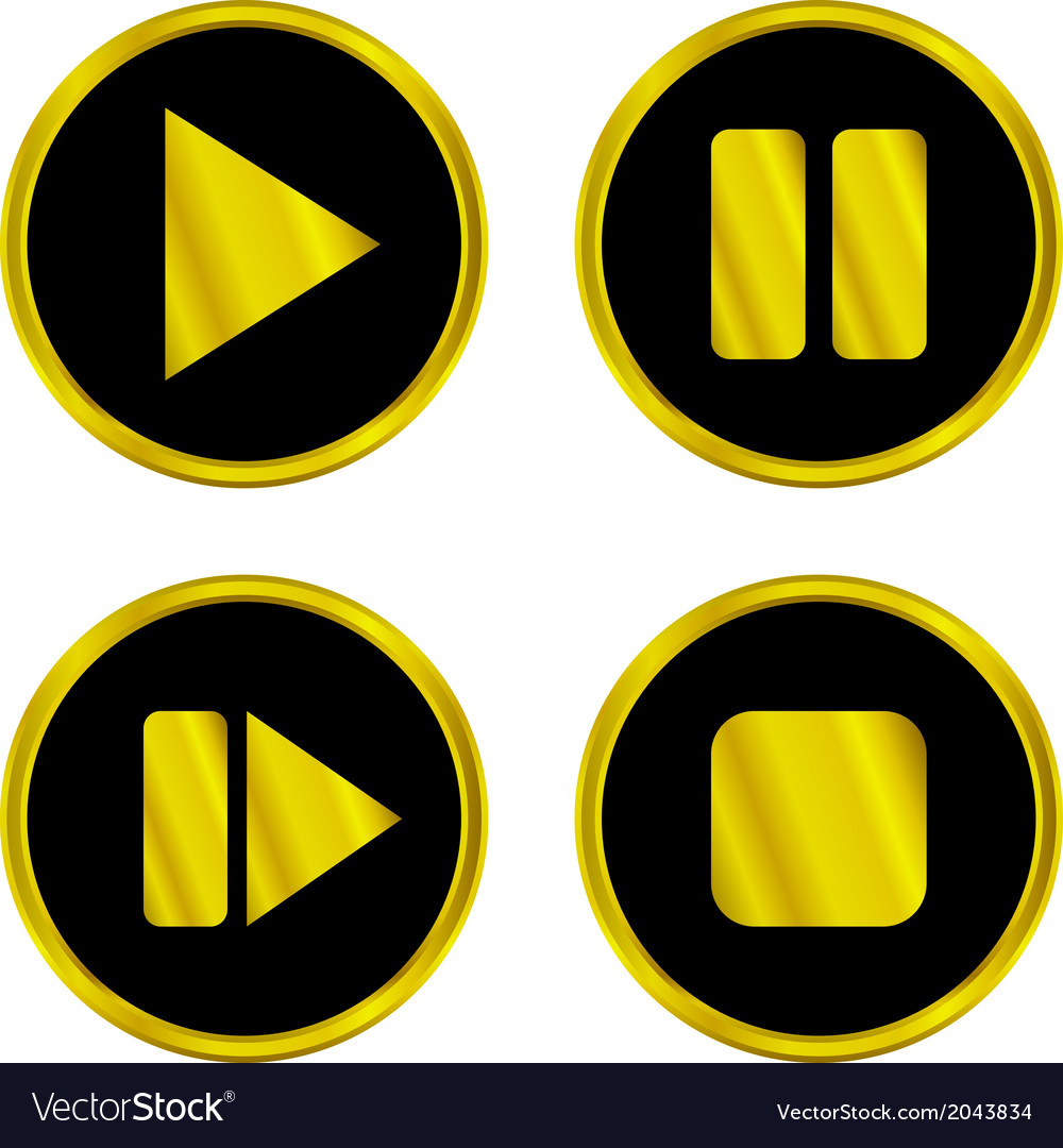 Gold play pause stop forward buttons vector | Price: 1 Credit (USD $1)