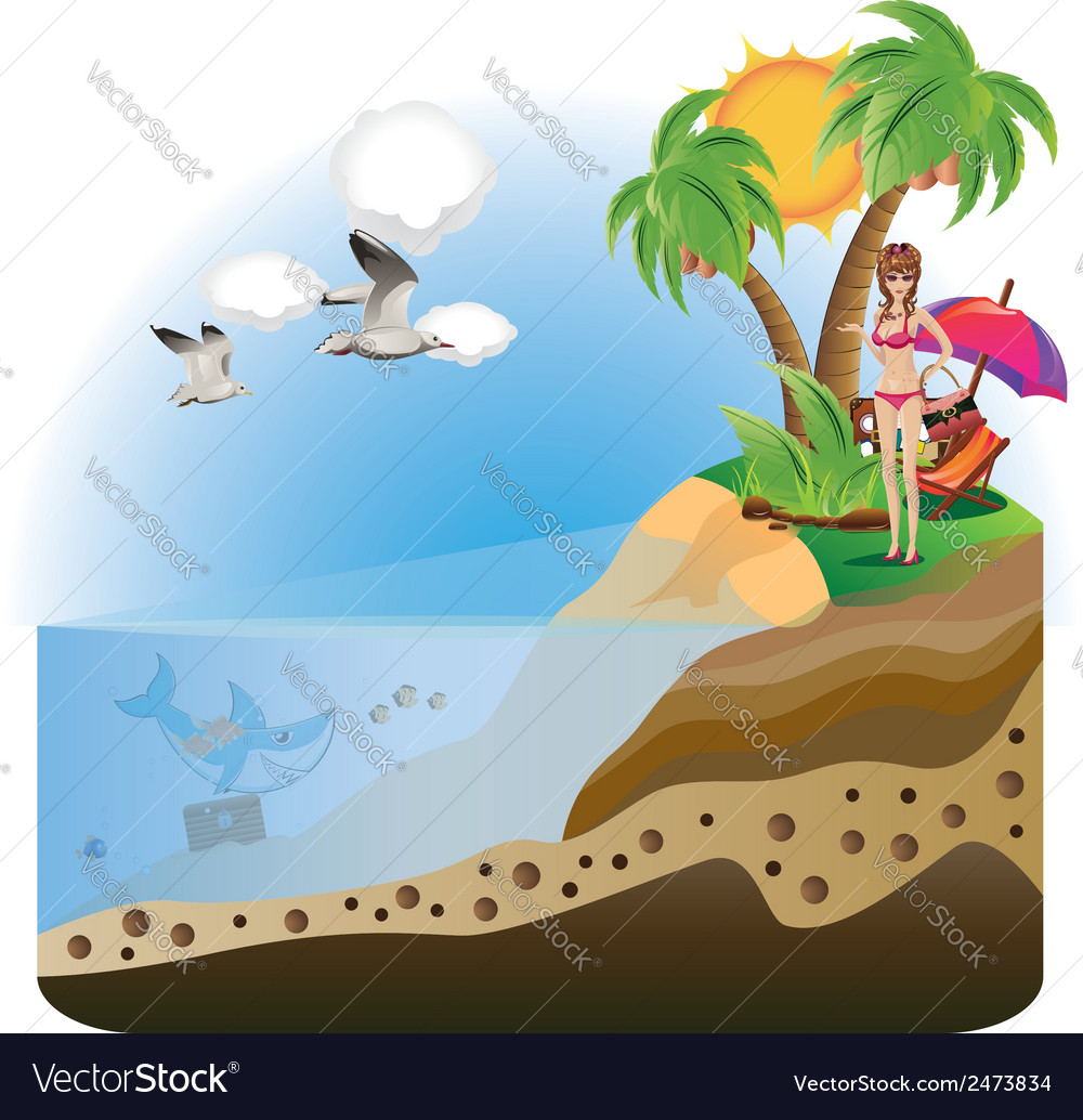 Happy girl on island4 vector | Price: 1 Credit (USD $1)
