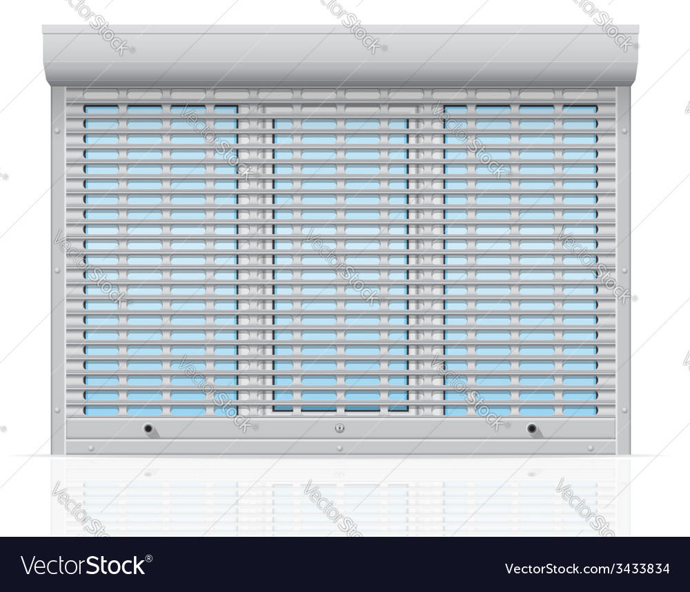 Plastic window behind metal perforated rolling vector | Price: 1 Credit (USD $1)