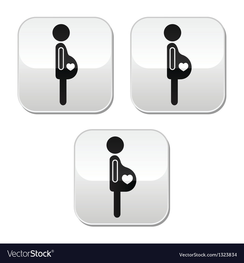 Pregnant woman - stages of bump buttons set vector | Price: 1 Credit (USD $1)