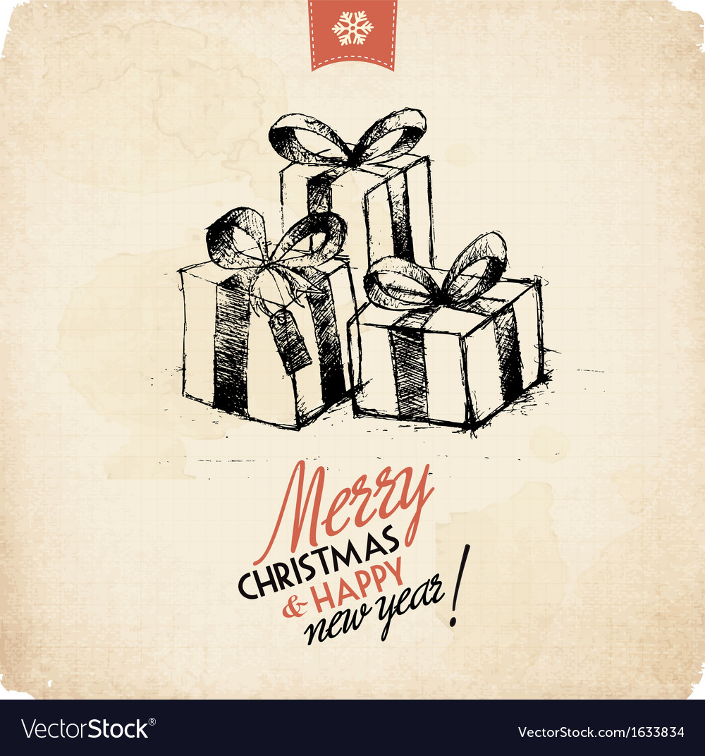 Retro vintage hand drawn christmas greeting card vector | Price: 1 Credit (USD $1)