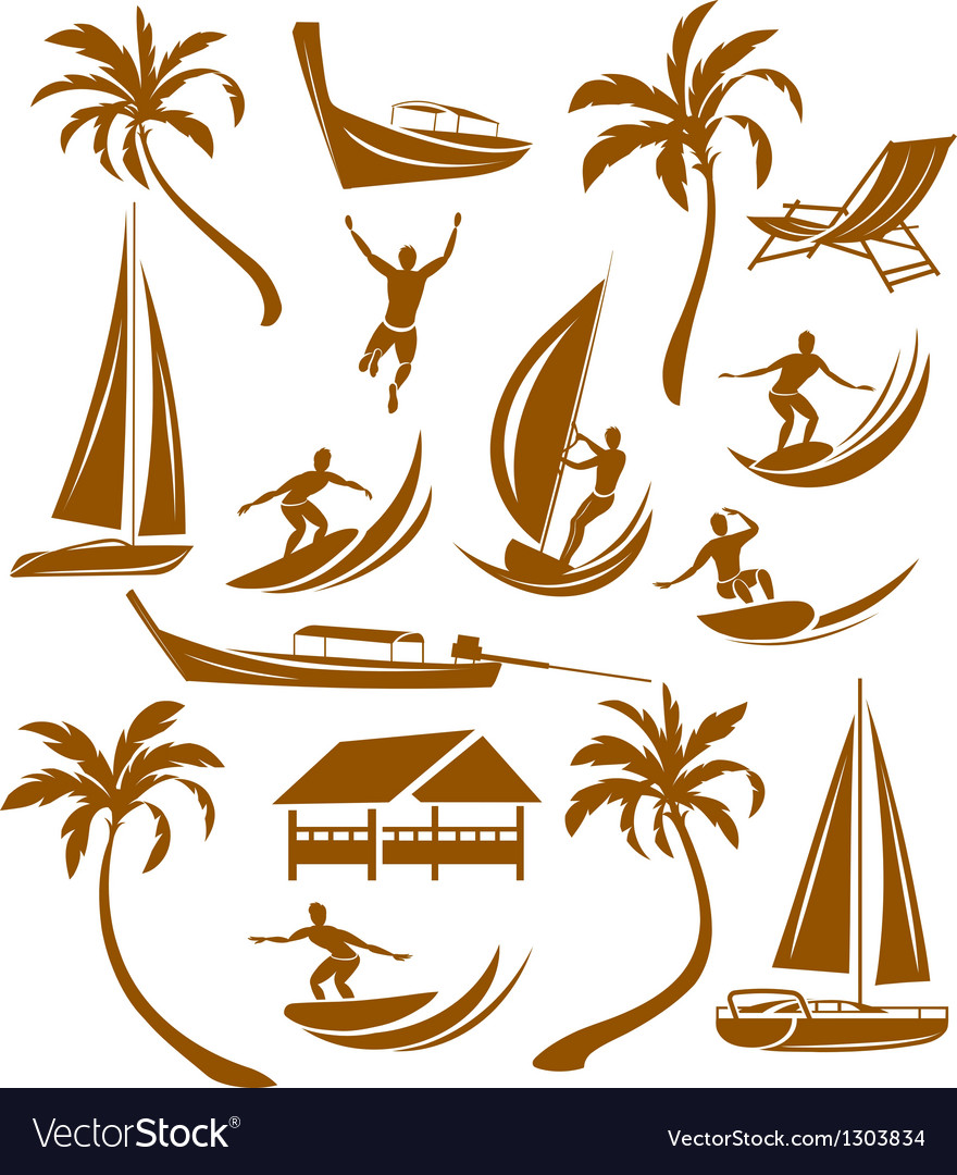 Summer silhouettes vacation vector | Price: 1 Credit (USD $1)