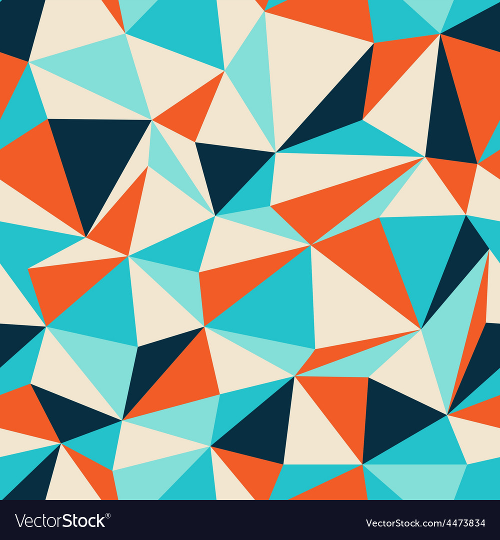 Triangle seamless pattern blue orange vector | Price: 1 Credit (USD $1)