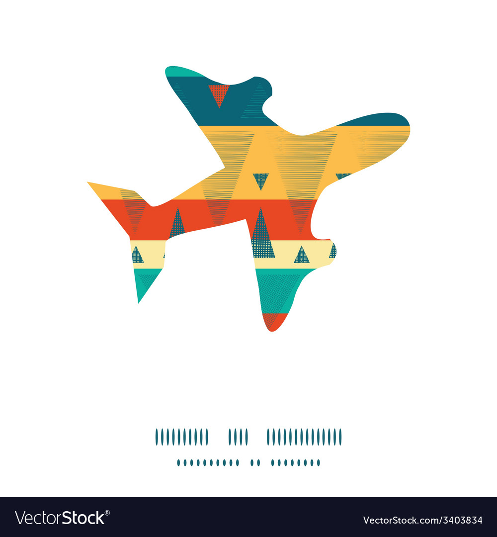 Vibrant ikat stripes airplane silhouette pattern vector | Price: 1 Credit (USD $1)