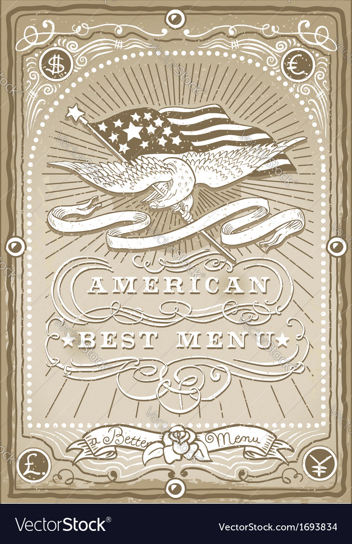 Vintage graphic page for american menu vector | Price: 1 Credit (USD $1)