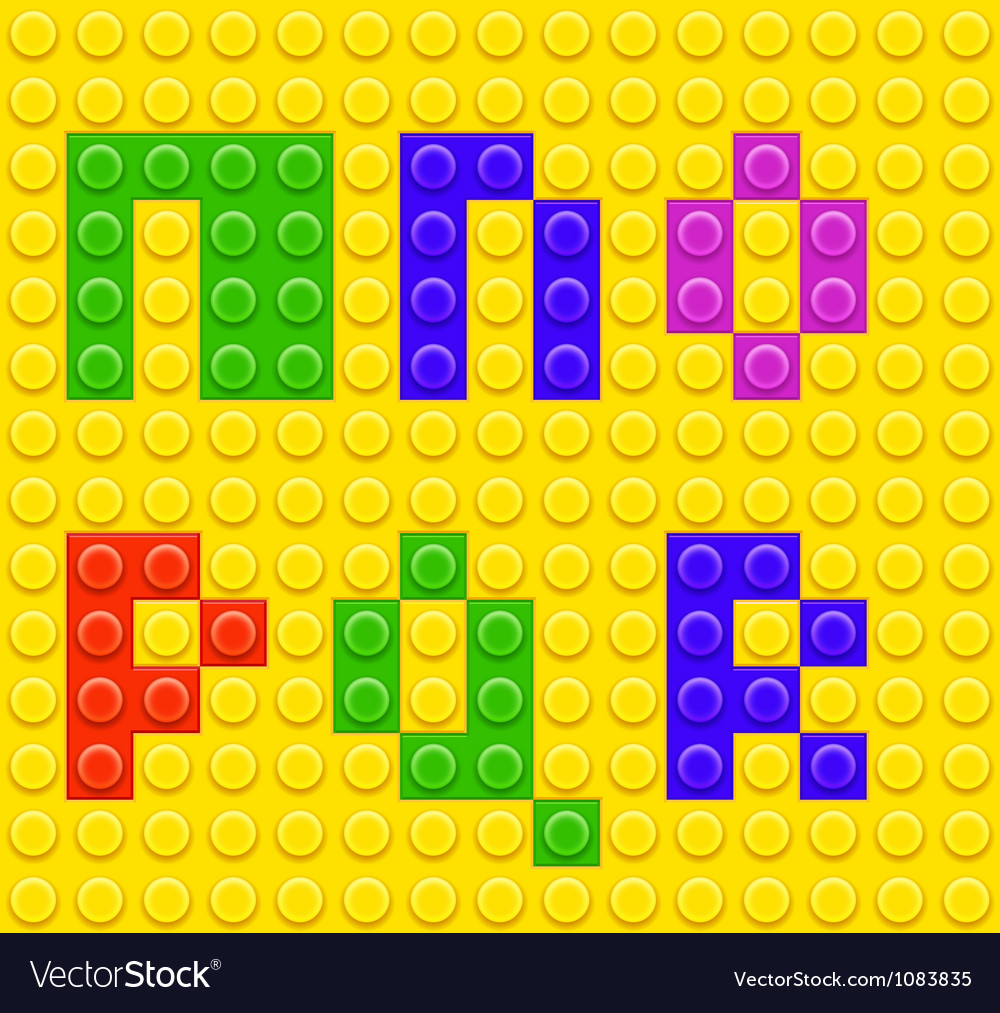 Alphabet construction lego brick blocks 3 vector | Price: 1 Credit (USD $1)