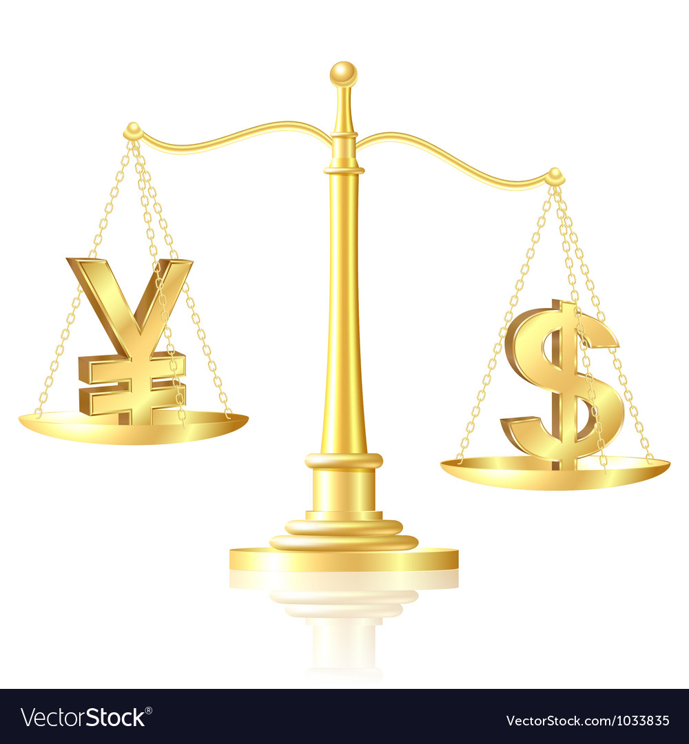 Dollar outweighs yen on scales vector | Price: 1 Credit (USD $1)