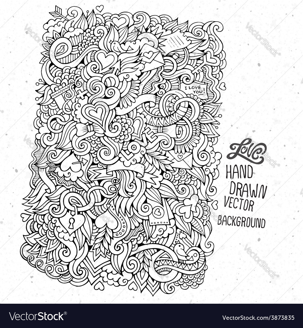 Doodles abstract decorative love background vector