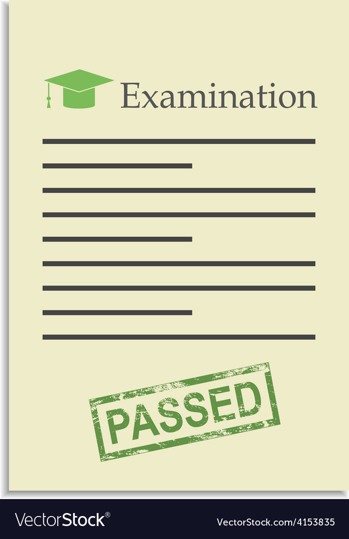Examination paper with passed stamp vector | Price: 1 Credit (USD $1)