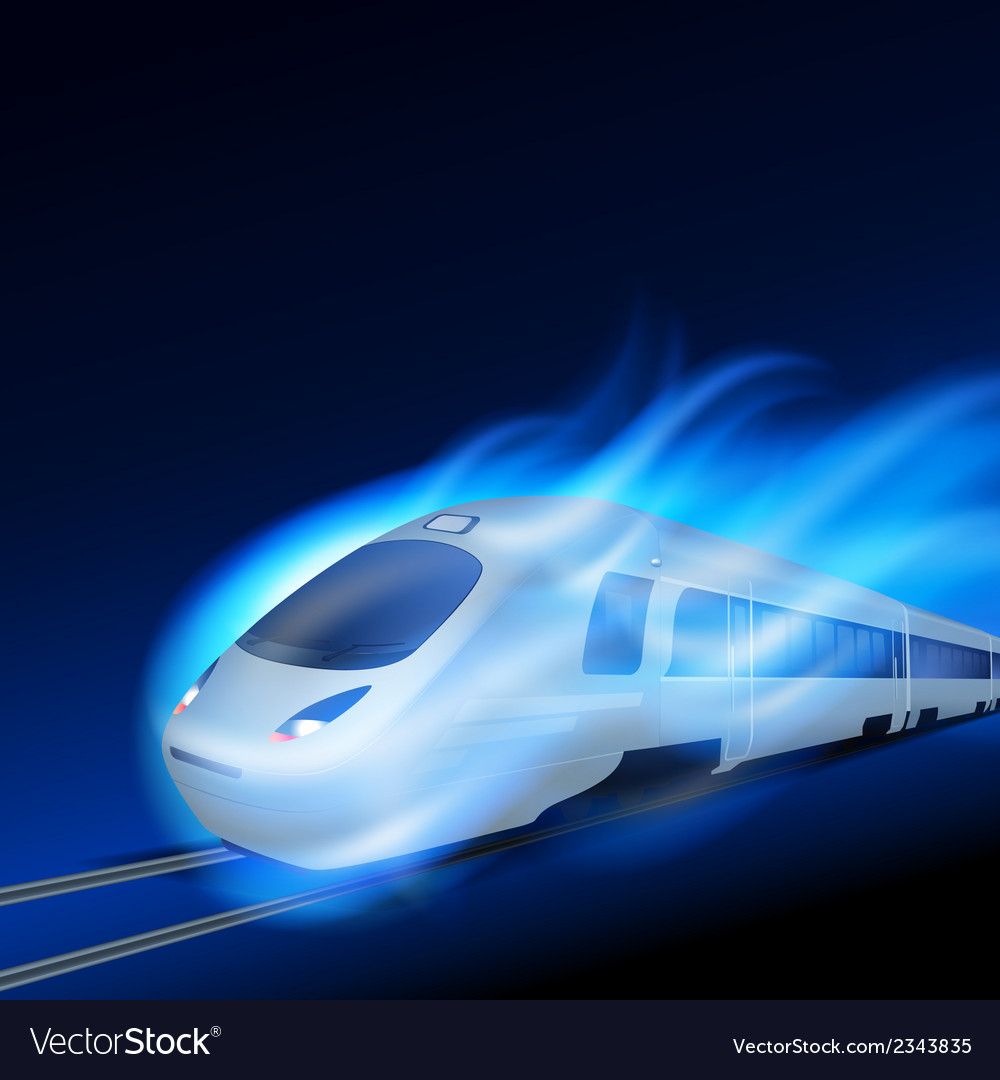 High-speed train in motion blue flame at night vector | Price: 1 Credit (USD $1)