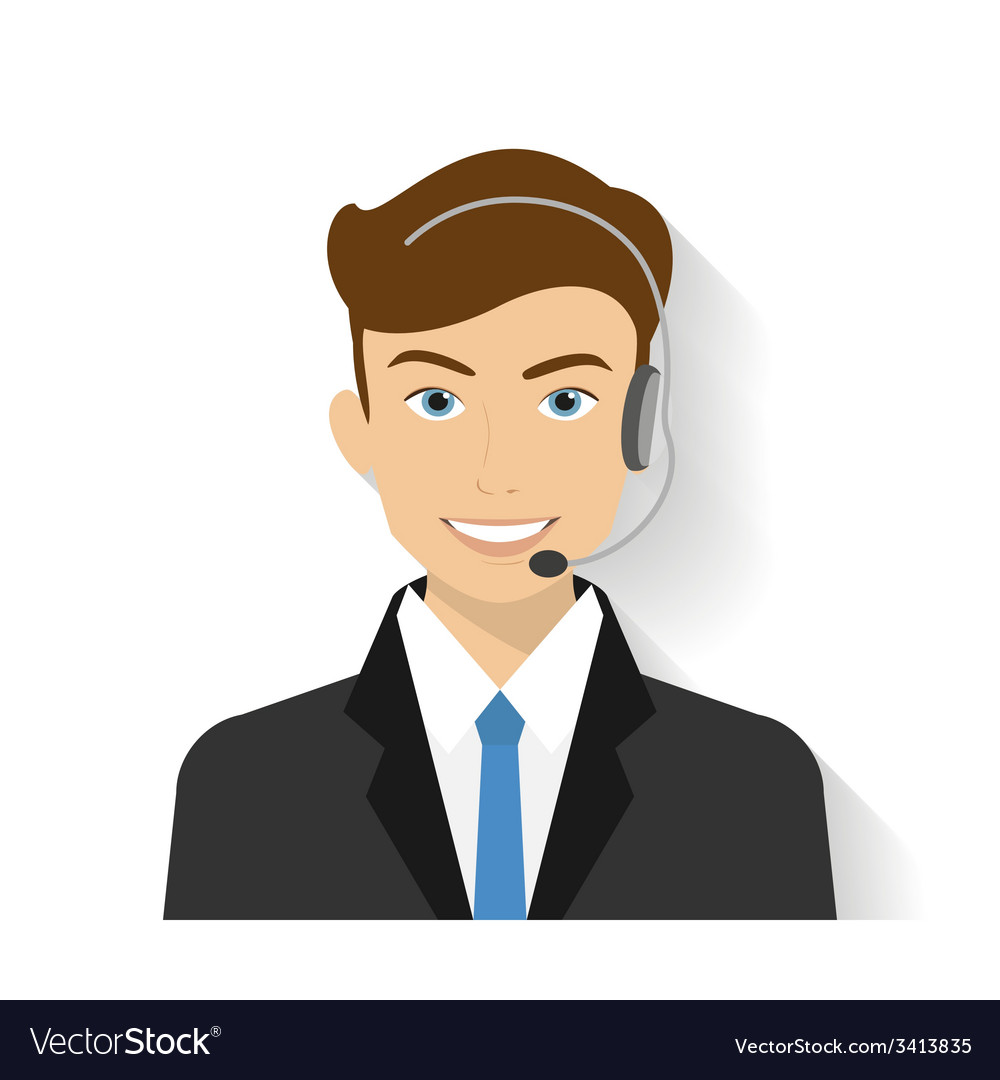 Male call centre operator vector | Price: 1 Credit (USD $1)