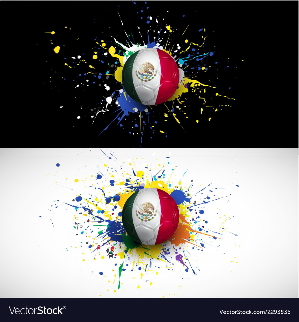 Maxico flag with soccer ball dash on colorful vector | Price: 1 Credit (USD $1)