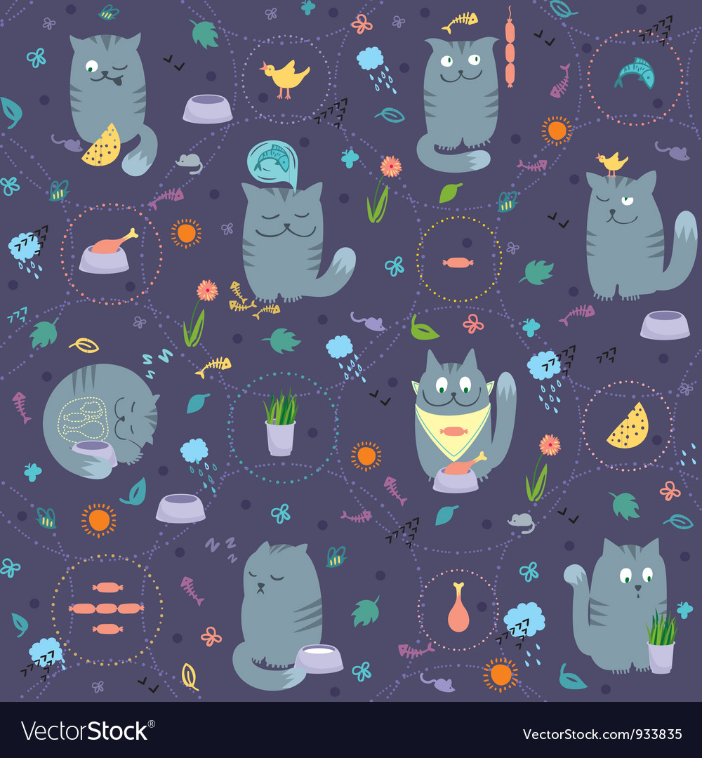 Seamless pattern cats and natural foods vector | Price:  Credit (USD $)