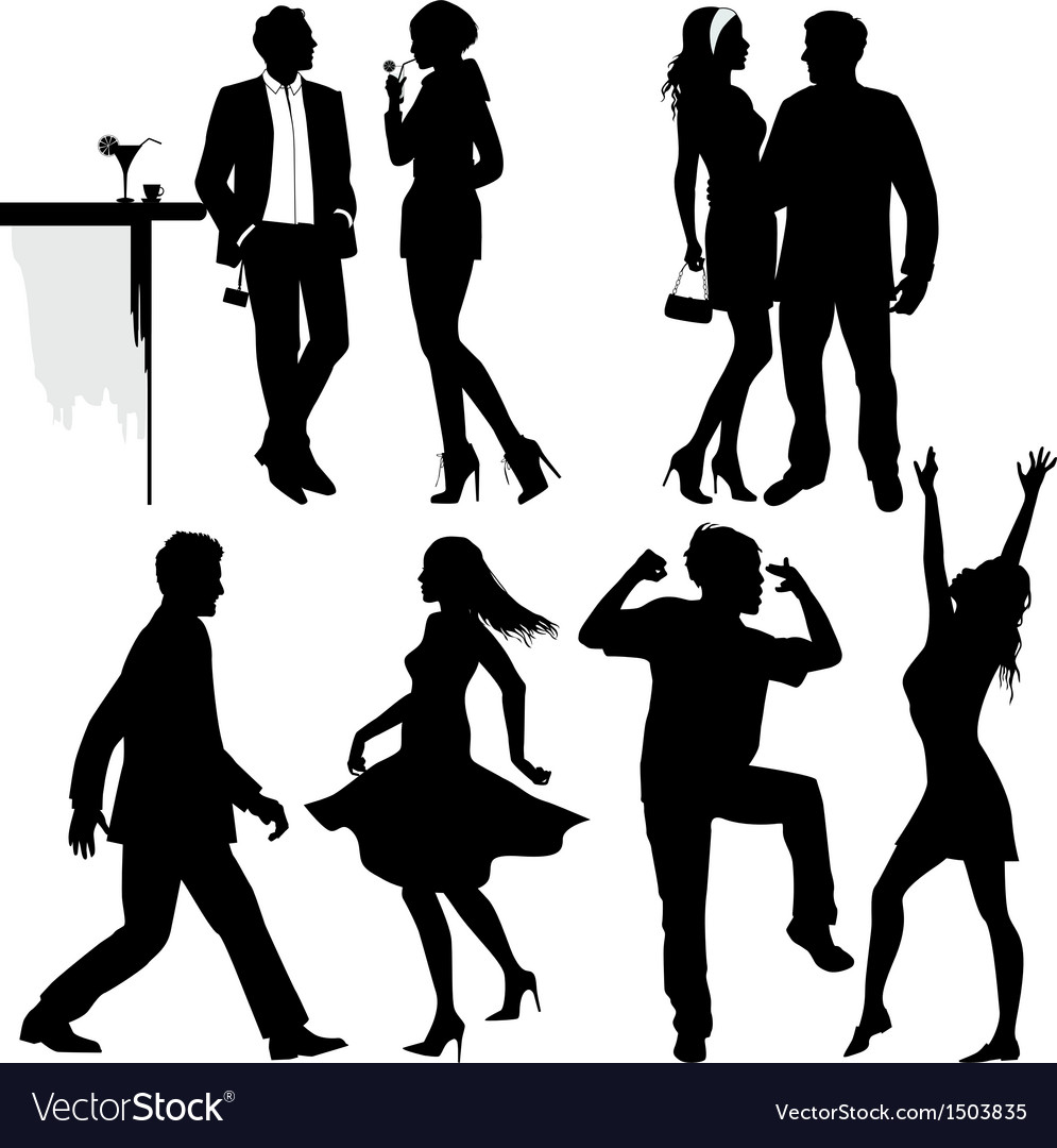 Several people are dancing on the party silhouette vector | Price: 3 Credit (USD $3)