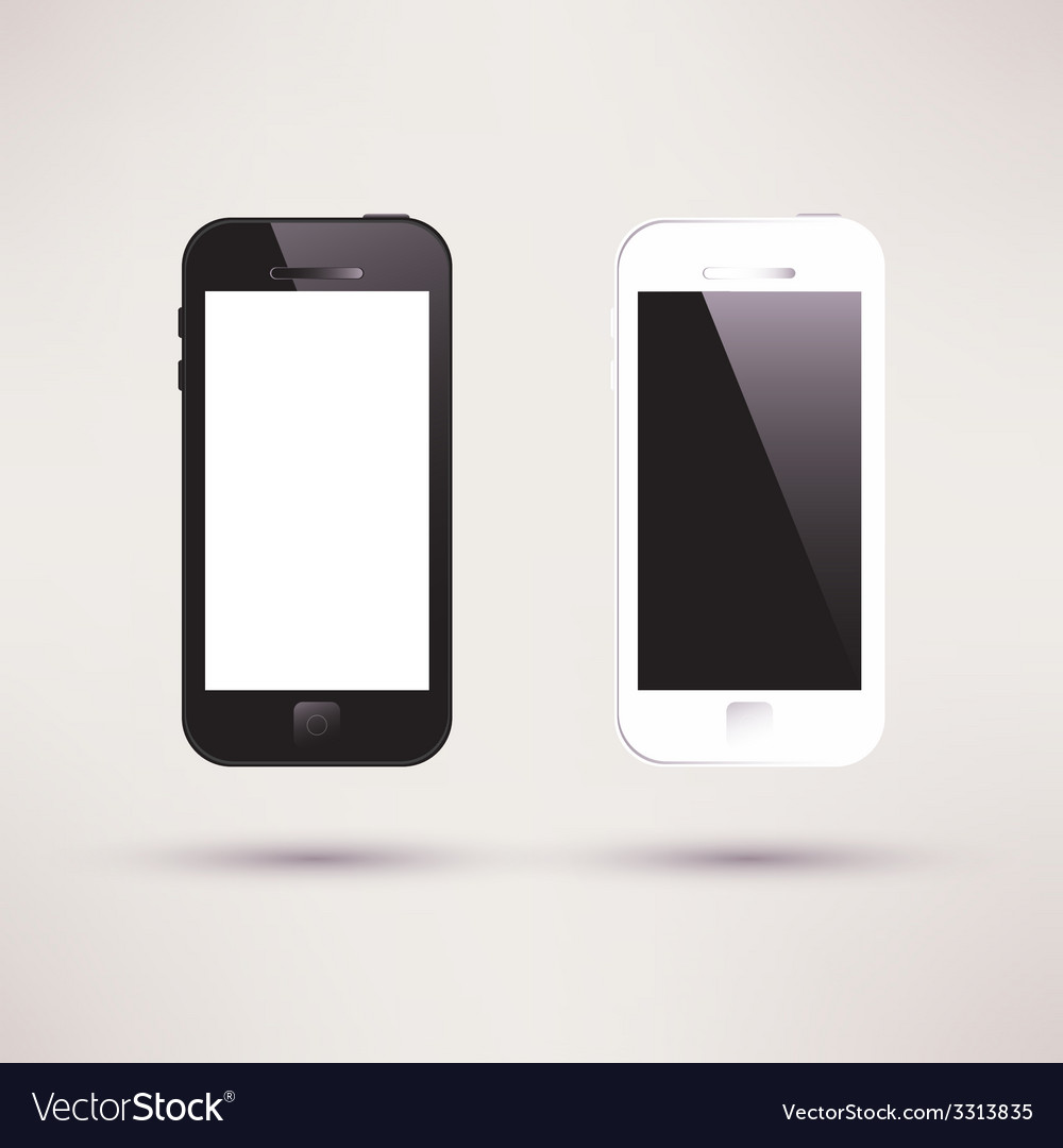 White and black touchscreen smartphone flat design vector | Price: 1 Credit (USD $1)