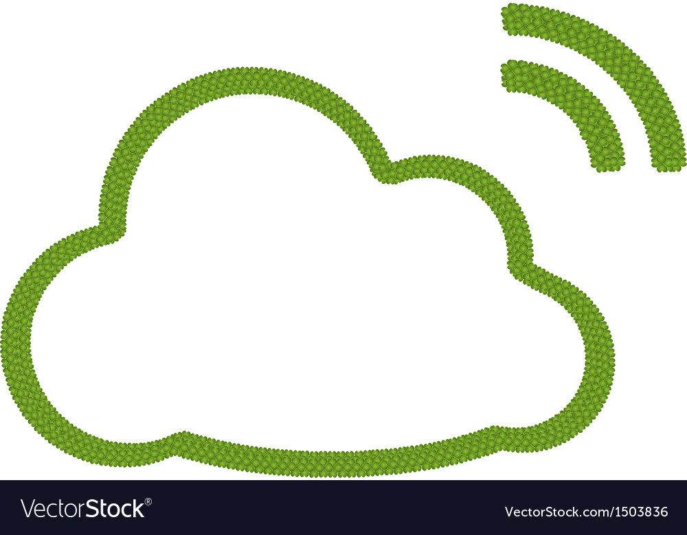 A four leaf clover of cloud icon with rss sign vector | Price: 1 Credit (USD $1)