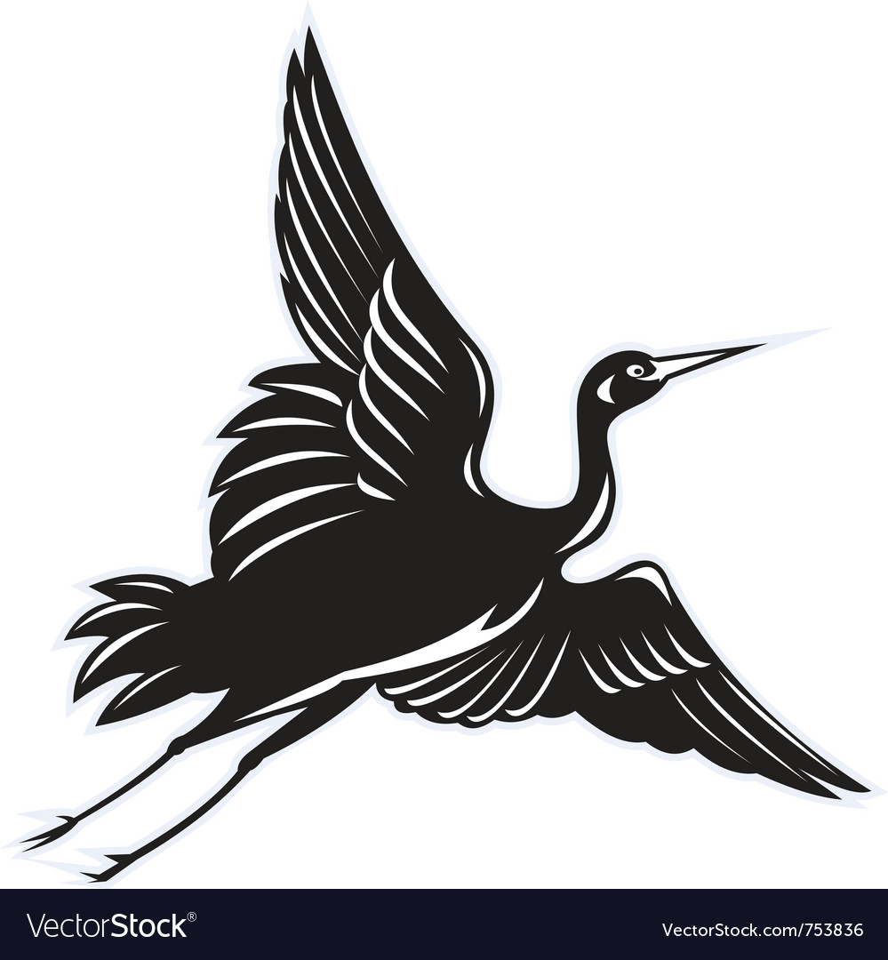 Crane flying done in retro woodcut vector | Price: 1 Credit (USD $1)