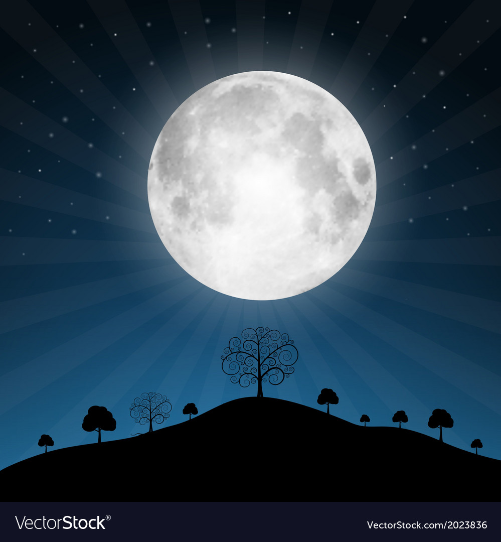 Full moon with stars and trees vector | Price: 1 Credit (USD $1)