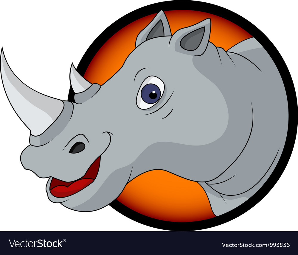 Funny rhino cartoon vector | Price: 1 Credit (USD $1)