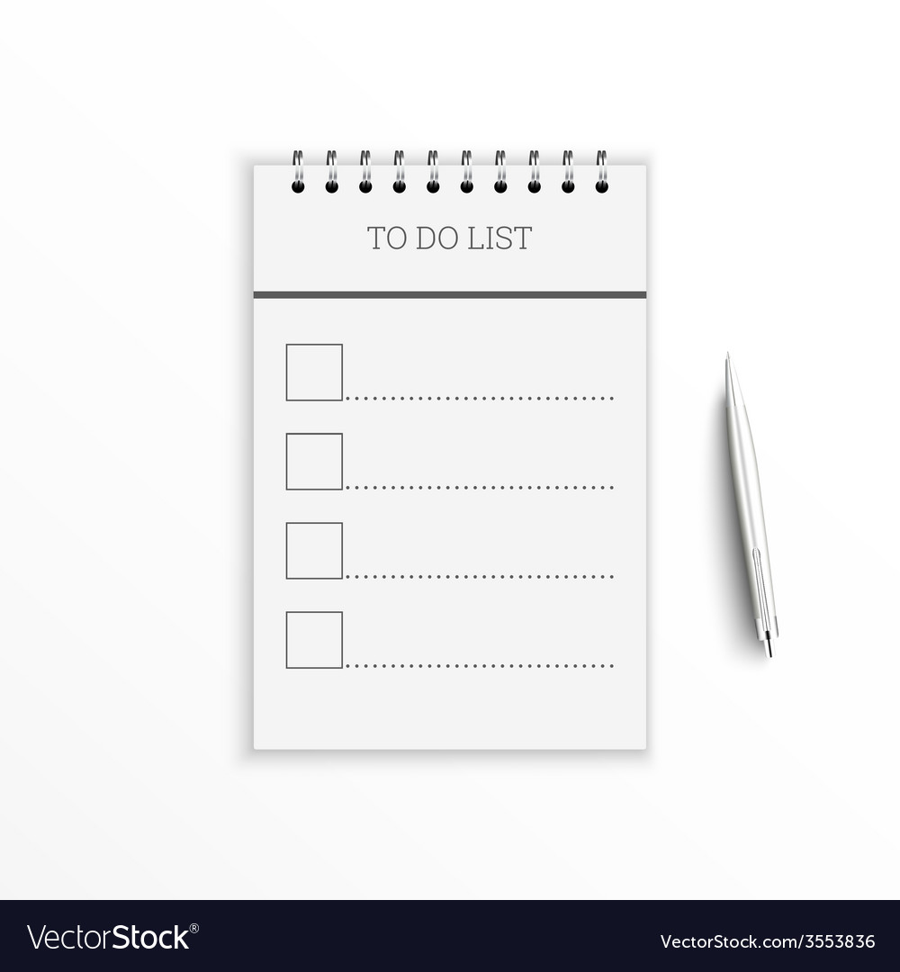 Notebook with to do list vector | Price: 1 Credit (USD $1)