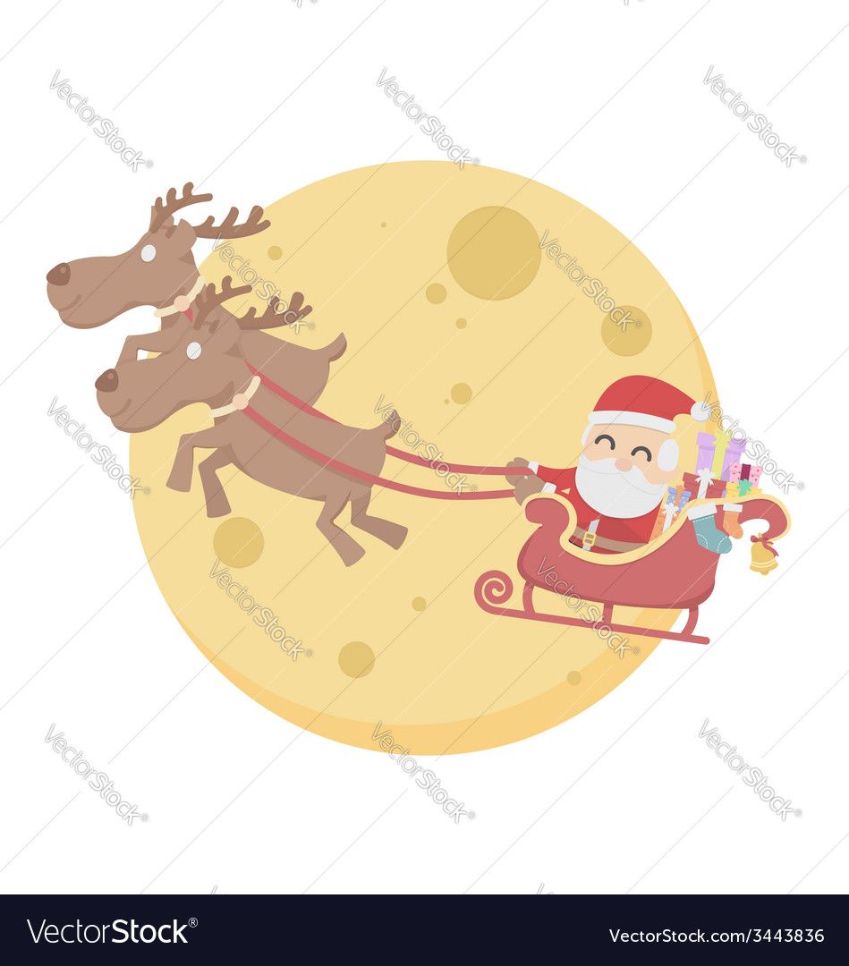 Santa claus over moon sky white background vector | Price: 1 Credit (USD $1)