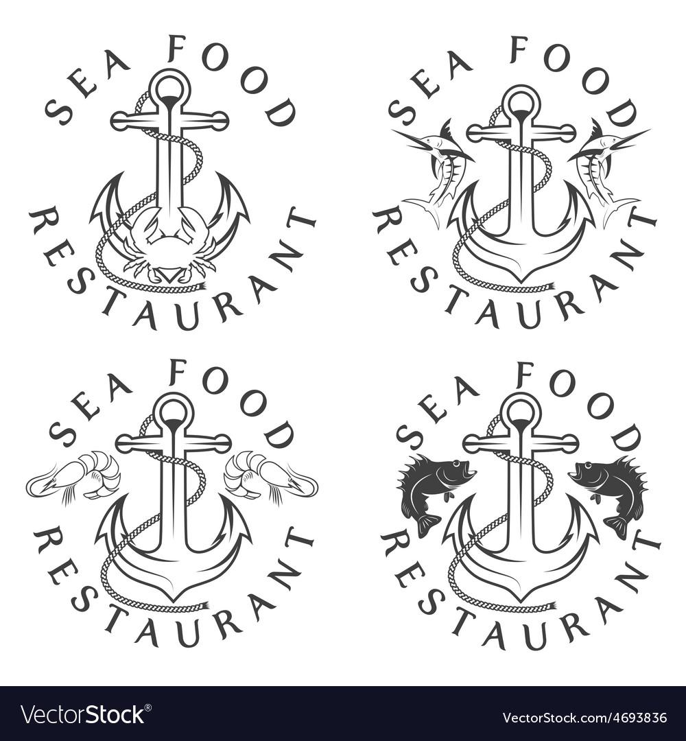 Sea food vintage labels set vector | Price: 1 Credit (USD $1)