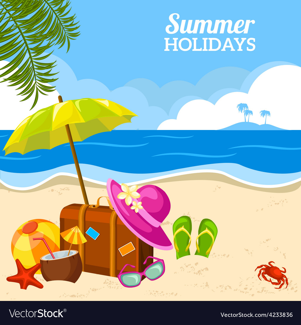 Summer seaside view on the beach poster vector | Price: 1 Credit (USD $1)