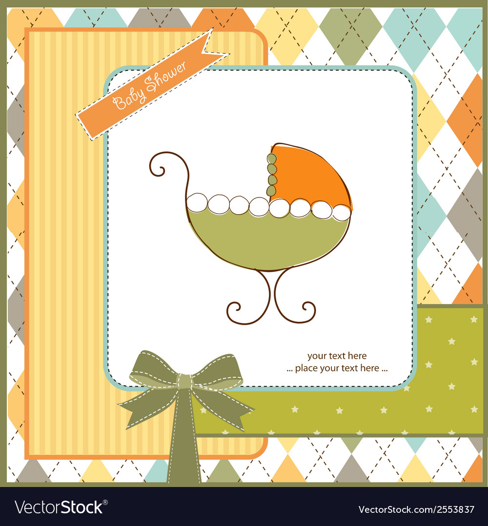 Baby shower card with stroller vector | Price: 1 Credit (USD $1)