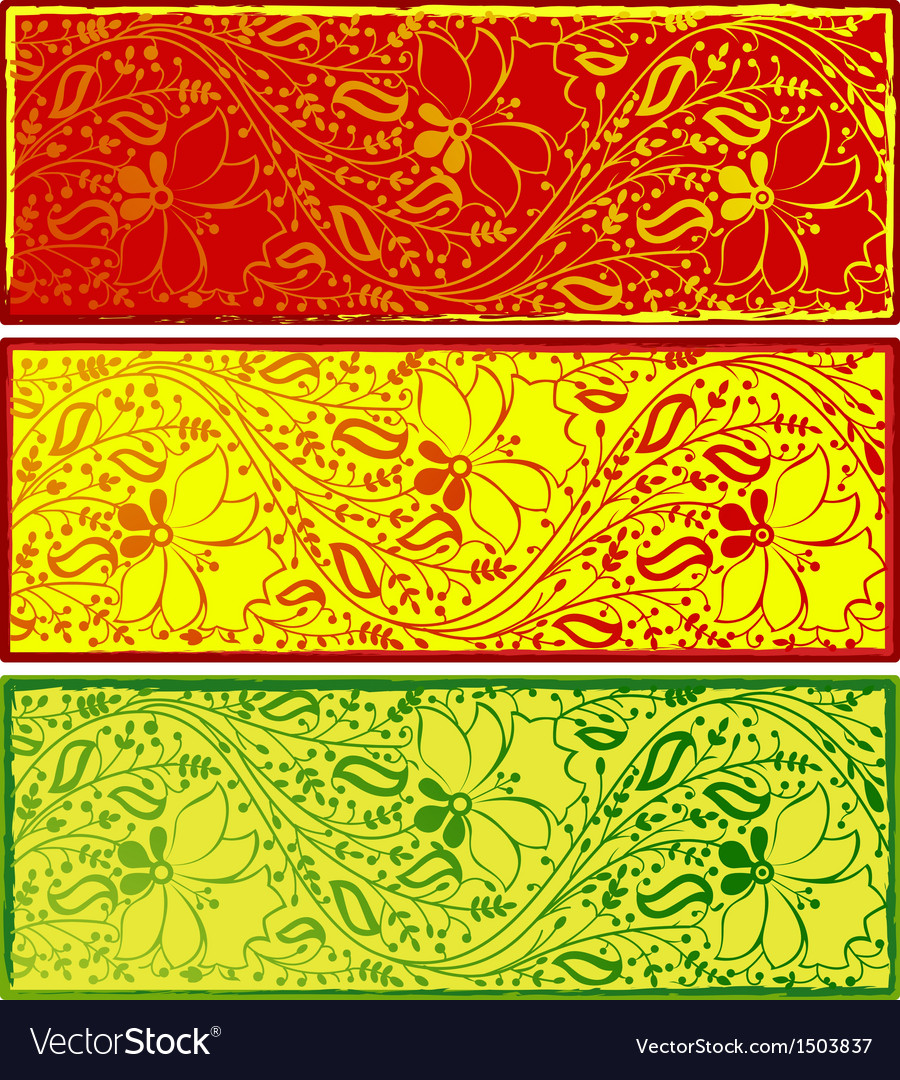 Banners with floral indian ornaments vector | Price: 1 Credit (USD $1)