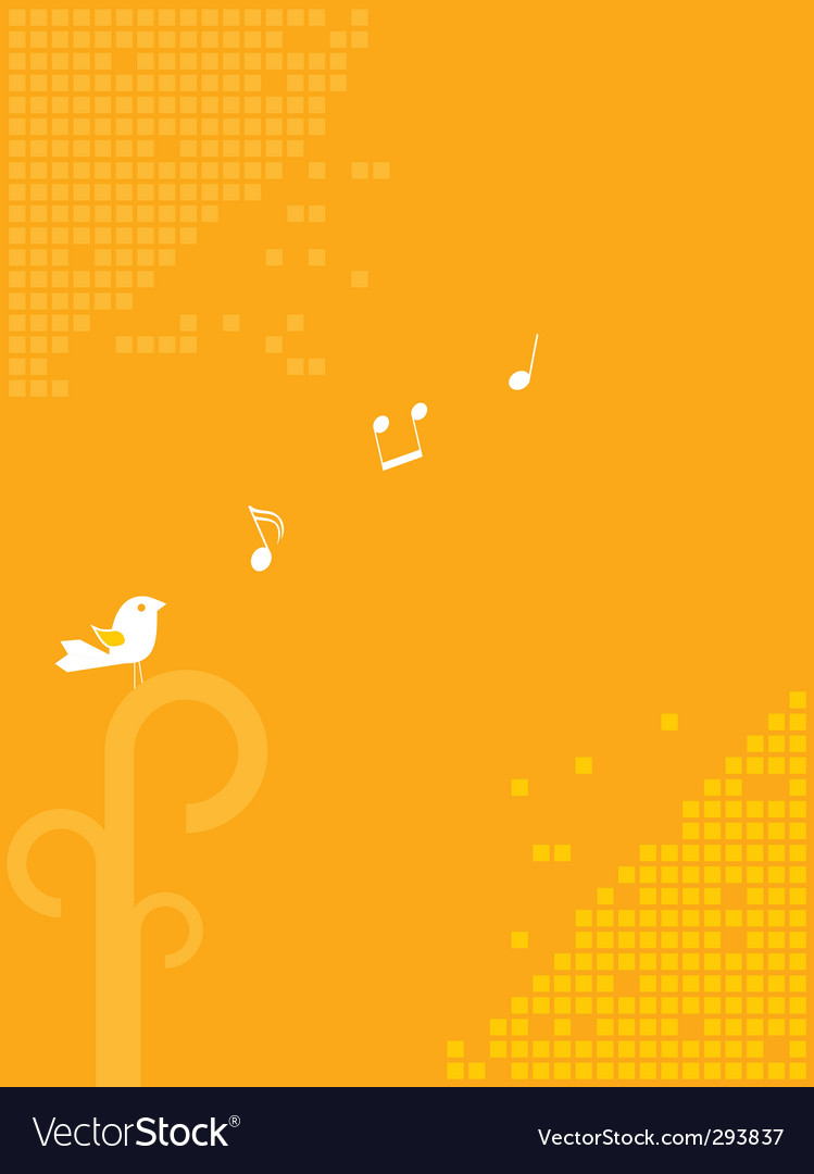 Bird and music background vector | Price: 1 Credit (USD $1)