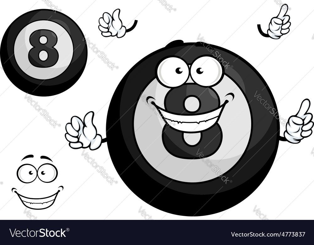 Black billiard eight ball cartoon character vector | Price: 1 Credit (USD $1)