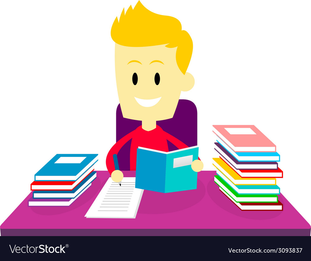 Boy studying doing his homework vector | Price: 1 Credit (USD $1)