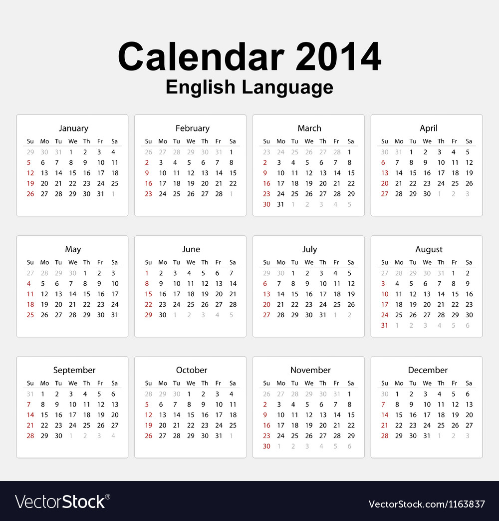 Calendar 2014 english type 11 vector | Price: 1 Credit (USD $1)