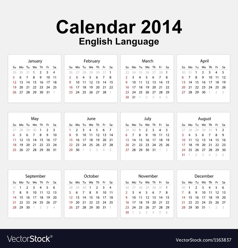 Calendar 2014 english type 11 vector | Price: 1 Credit (USD $1)