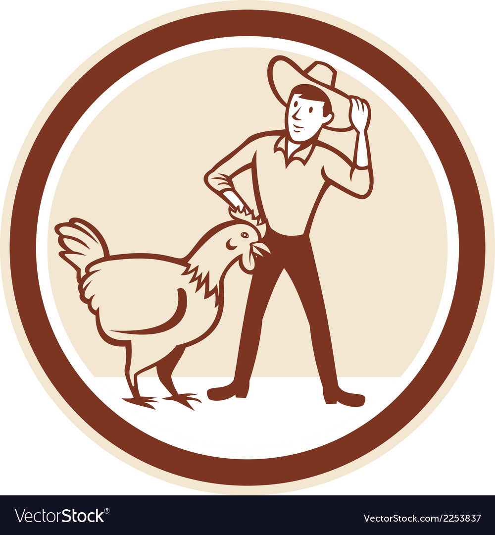 Chicken farmer feeder cirlce cartoon vector | Price: 1 Credit (USD $1)
