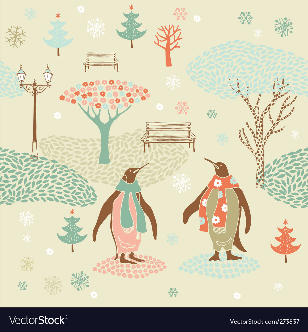 Christmas card with penguins vector   Price: 3 Credit (USD $3)