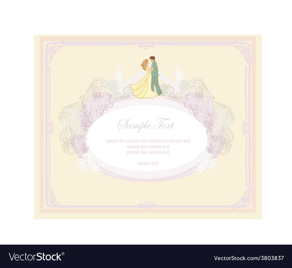 Elegant wedding invitation with dancing wedding vector | Price: 1 Credit (USD $1)