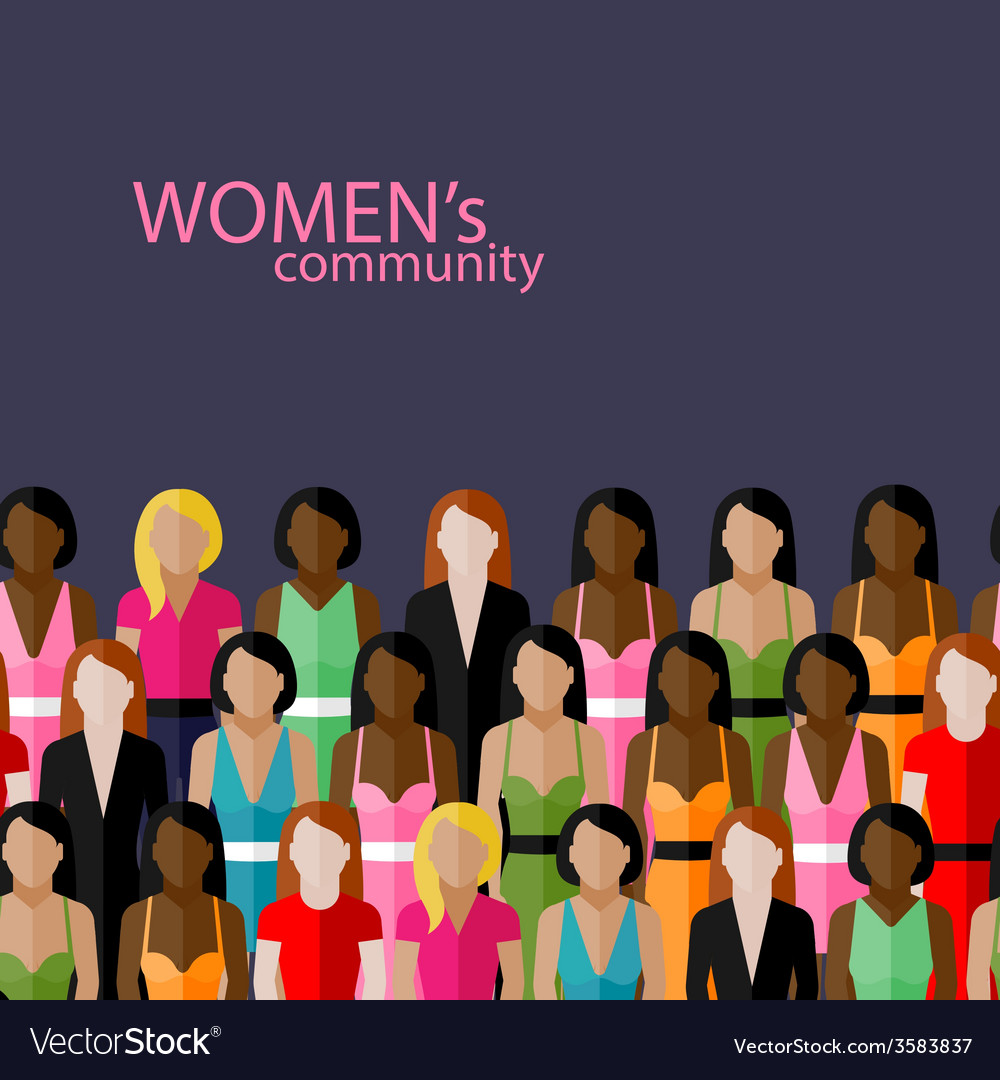 Flat of women community with a large group of vector | Price: 1 Credit (USD $1)