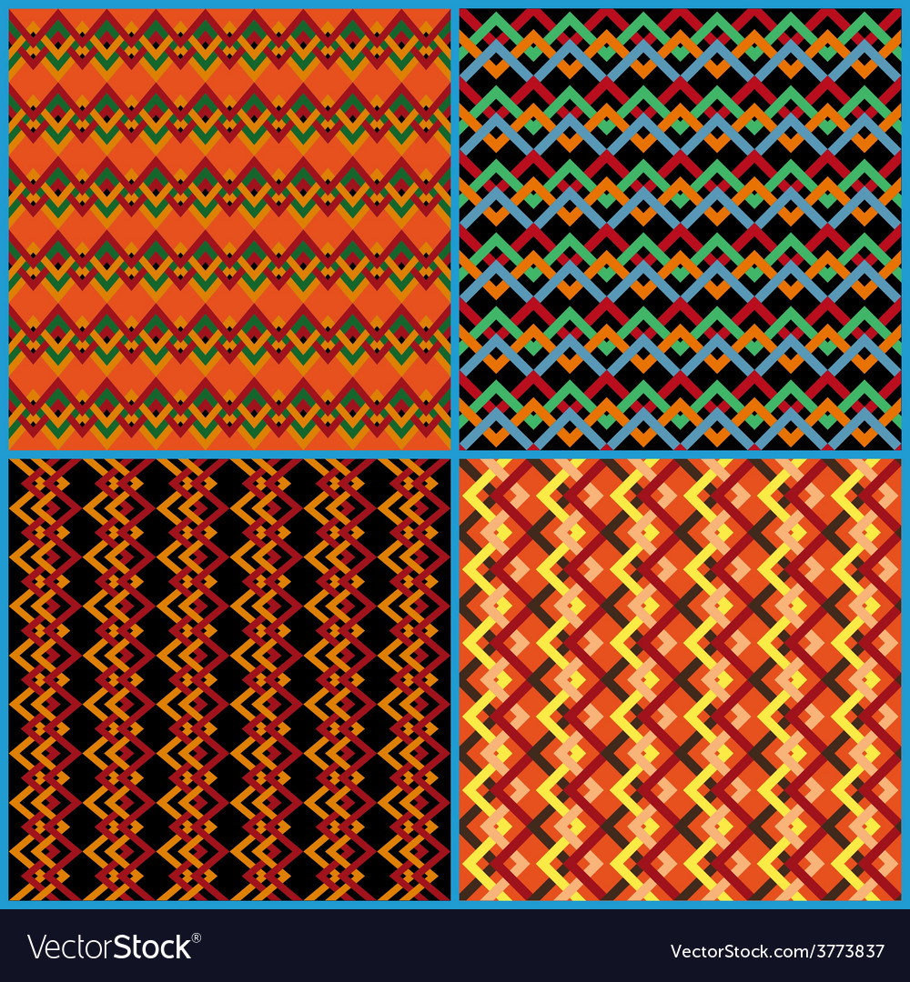 Four seamless patterns on ethnic motifs vector