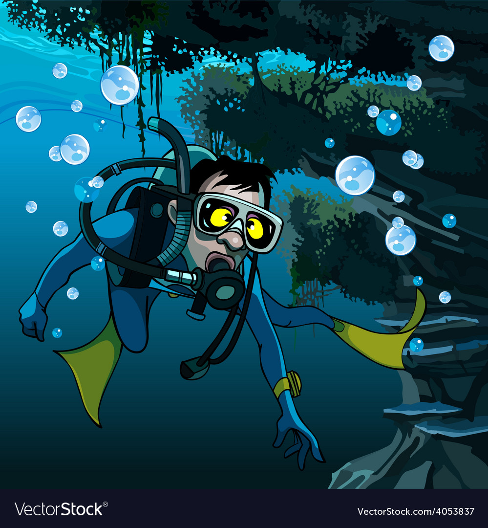 Frightened diver under water vector | Price: 3 Credit (USD $3)