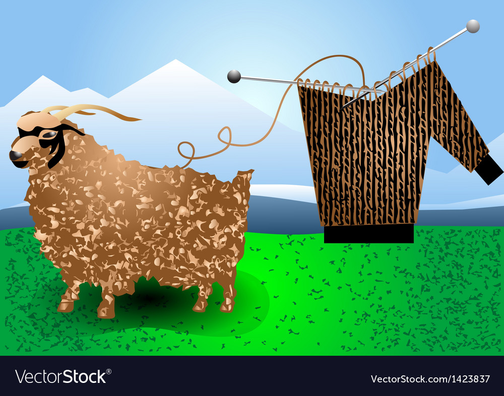 Fur goat and knitting vector | Price: 1 Credit (USD $1)