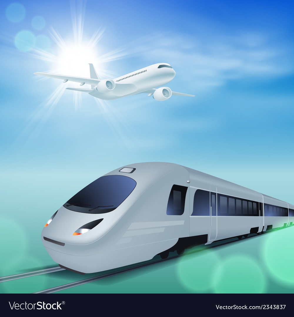 High-speed train and airplane in the sky vector | Price: 1 Credit (USD $1)