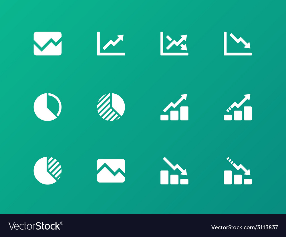 Line chart and diagram icons on green background vector | Price: 1 Credit (USD $1)