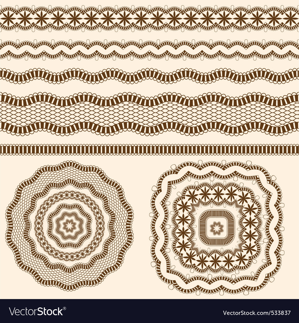 Ribbons and rosettes of lace seamless band vector | Price: 1 Credit (USD $1)