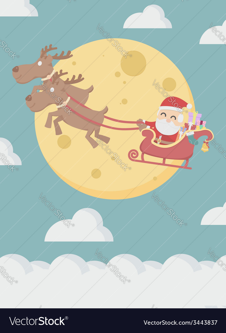 Santa claus with reindeer fly over the cloud vector | Price: 1 Credit (USD $1)