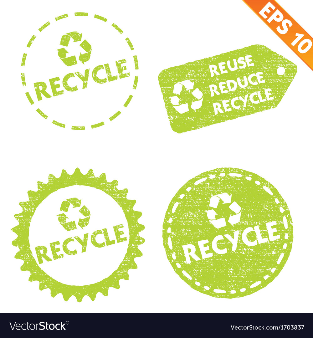 Stamp sticker recycled tag collection - - e vector | Price: 1 Credit (USD $1)
