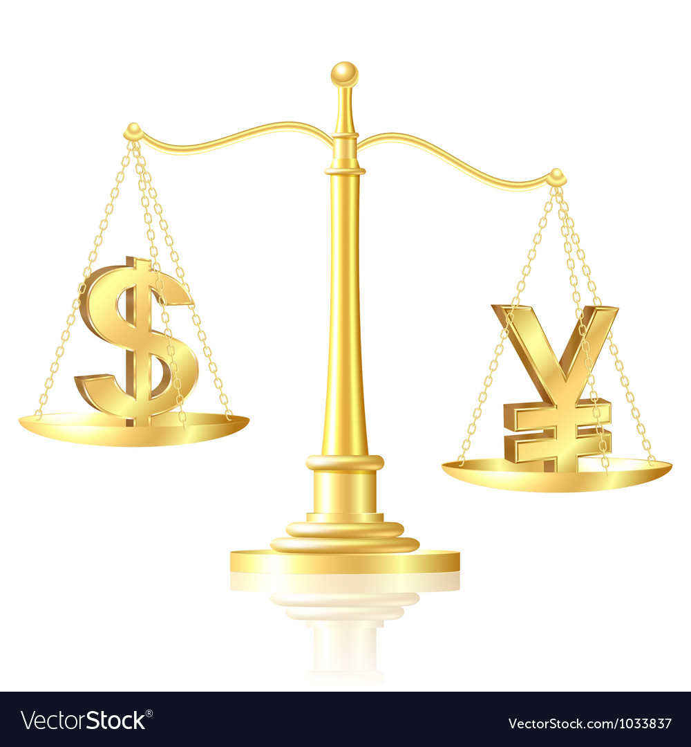 Yen outweighs dollar on scales vector | Price: 1 Credit (USD $1)